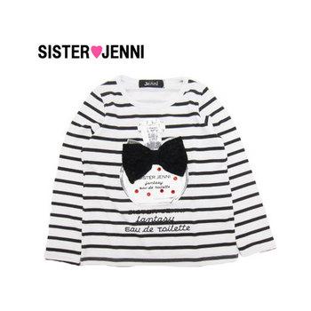 【50%OFFセール】JENNI ジェニィT/R天竺ボーダーリボンボトル長袖Tシャツ・ブラック